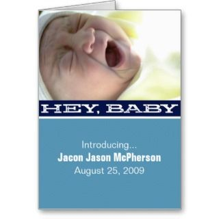 Navy Blue Hey, Baby Birth Announcement Greeting Card