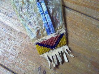 Porcupine Quillwork   Quillbladder gegerbt   quilled   beaded