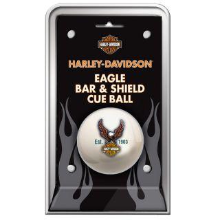 Diese weiße Billardkugel mit dem Harley Davidson ® Eagle ist selten