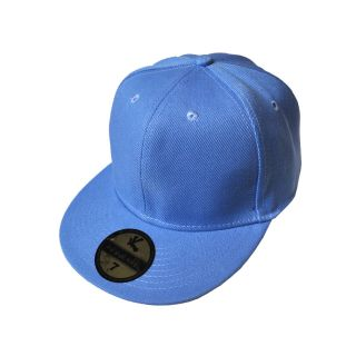 New Plain Sky Blue Flat Peak Kids Baseball Cap 6 1/2