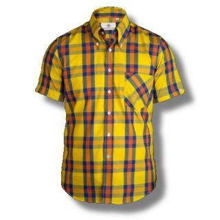 Mikkel Rude Mod Skin Retro 60s Button Down S/S Check Shirt Yellow
