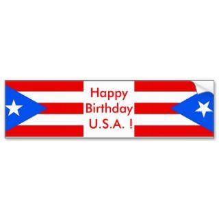Sticker Flag of Puerto Rico, Happy Birthday U.S.A. Bumper Sticker