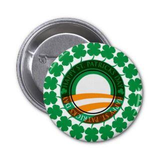Obama Happy St Patricks Day Button