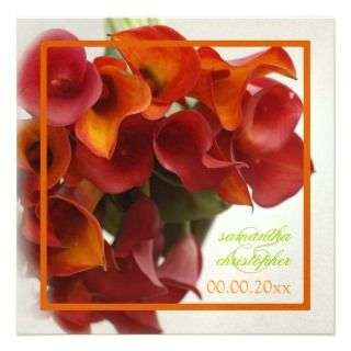 PixDezines burnt orange calla lily Invitation