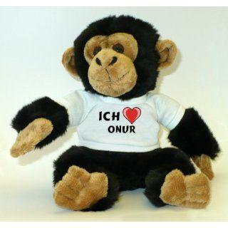 Plüschtier Affe / Schimpanse mit Ich Liebe Onur T Shirt