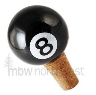 BALL POOL WINE CORK BOTTLE STOPPER / PORCELAIN / NEW
