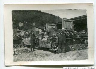 Foto Sturmgeschütz ERIKA 9,5 x 6,5cm Norwegen ? Wintertarnung top
