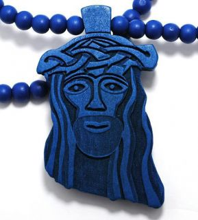 BLUE WOOD JESUS PIECE CHAIN GOD CHRIST PENDANT WOODEN BEAD NECKLACE