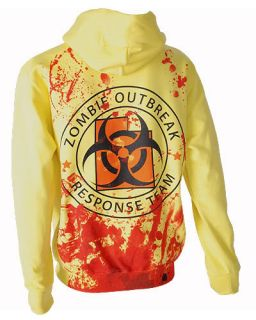Zombie Response Team Blood Yellow Pullover Fleece Jumper Hoodie Punk