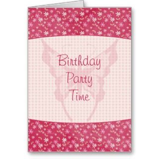 Pink floral butterfly birthday party invitation card