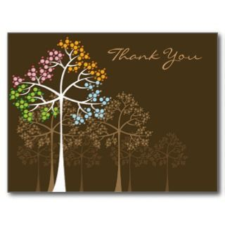 Four Seasons Trees on Brown Thank You Postcard