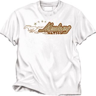 Ford Mustang White Mustang Nation Frontprint Mens T  S
