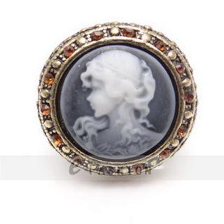 Ring Scheibe Style Ringe Retro Strass Gravur Damen Fingerring NEU 102