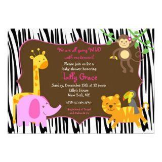 Print Jungle Safari Animal Baby Shower Announcement