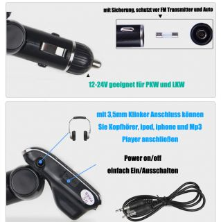 FM Transmitter MP3 Player für 12 24V Auto PKW LKW Car Radio SD TF USB
