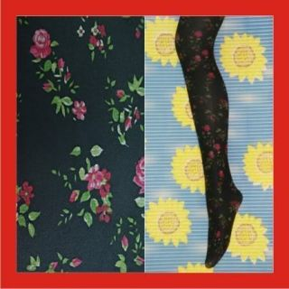 New Women Floral Black Opaque Tights Pantyhose f266