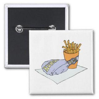 Burger Fries Junk Snack Food Cartoon Art Buttons