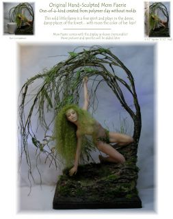 SCULPTURE #277 MOSS FAIRY   ooak by Faeries in the Attic   fita art