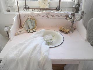Shabby Waschtisch Konsole Tisch Emaille Puder Rosè Romantic uralt