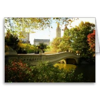 Bow Bridge in Autumn, Central Park, New York City Greeting Card