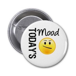 Todays Mood Emoticon Annoyed Pinback Buttons