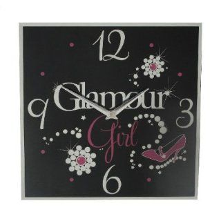 Black Glass Glamour Girl Square Wall Clock   HP023152