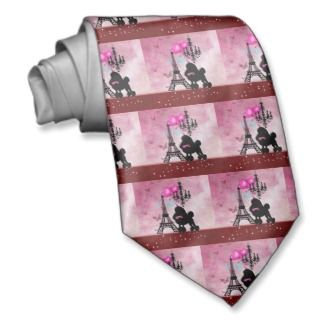 French Paris Girly Chic Poodle Eiffel Tower Damask Custom Ties
