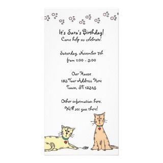 Invitación del cumpleaños del gatito tarjetas personales de