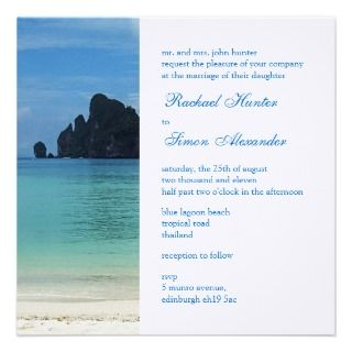 Beautiful Tropical Beach Wedding Invitiation 2 invitations by claire