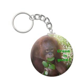 Green is Good Grea Ape Fan Keychain