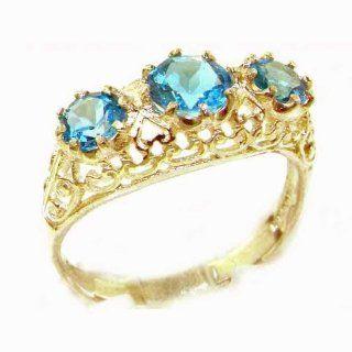 Hohe Qualität Trilogy Damen Ring solide 9 Karat Gold Gelbgold Blau