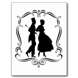 Vintage Silhouette Elegant Man Woman Postcard