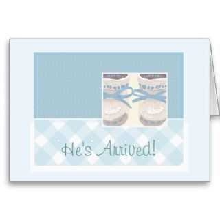 Baby Boy Birth Announcement Blue Booties Gingham Cards
