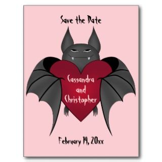 Valentines day vampire bat save the date wedding postcards