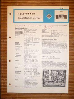 Service Manual für Telefunken M 291,ORIGINAL