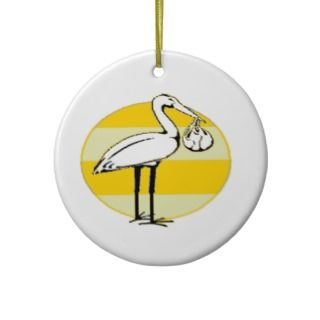 Stork and Baby Bundle Ornaments