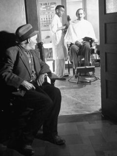 84 Years Old Miner Waiting for Haircut at Old Pioneers Home Premium Photographic Print