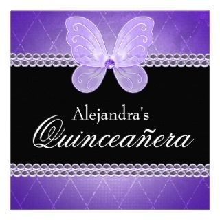 Butterfly Diamonds Purple Quinceanera Invitation