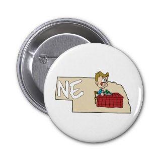 Nebraska NE Map & Cartoon Pins
