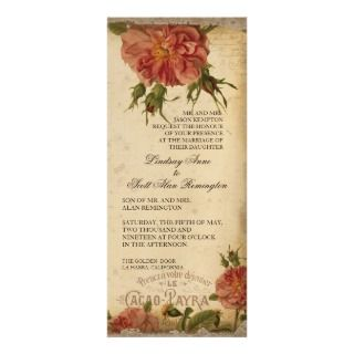 Black Cream Vintage Eiffel Tower Rose Dinner Menu Invite