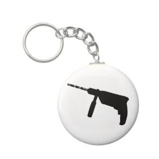 black drill machine icon key chains