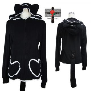 Jrock Gothic Lolita Black Bunny Love Pocket Tail Hoodie Cotton Rock