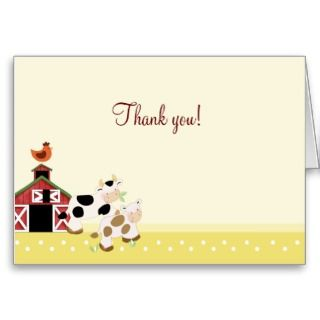 Baby Moo Cow Yellow Folded Thank you notes Card