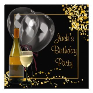 Wine Bottle Glass Gold Black Mans Birthday Party Personalized Invite