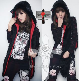 Visual Kei Gothic Noir Faux Fur Meow HOODY Claw Scarf