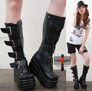 cyber black faux leather boots features with the classic 4 straps belt