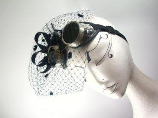 Cyber Schweisserbrille Burlesque Gothic Fascinator Hut