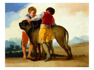Boys with a Wild Dog 1786 87 Giclee Print by Francisco de Goya