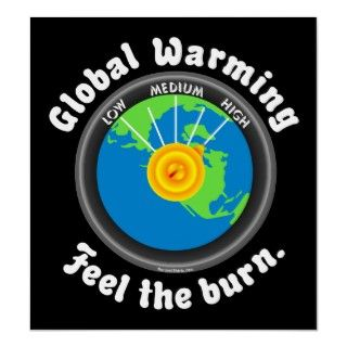 Global Warming. Feel the burn text with the earths thermostat set on