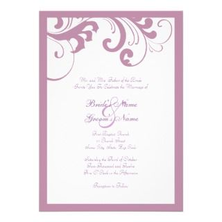 Lilac and White Swirls Frame Wedding Invitation